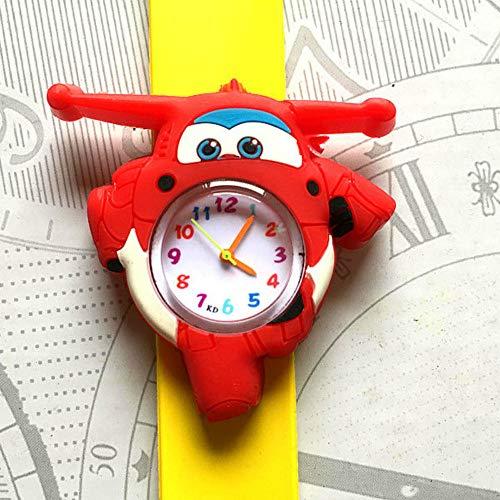 Kinderen kijken XYDBB Cartoon Vliegtuigen Auto Kinderhorloges Kinderen quartz horloge voor kinderen Jongens Babyspeelgoed Klok Kind Zoals afgebeeld6 Geel