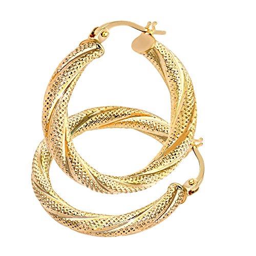 Citerna Women's 9 ct Yellow Gold Hoop Earrings