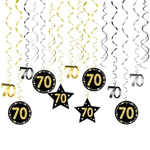 MEZOOM 24pcs Remolinos Colgantes Cumpleaños 70 años Adorno