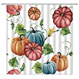 Fall Pumpkin Shower Curtain Autumn Harvest Thanksgiving Watercolor Pumpkin with Green Leaves Farm Autumnal Crop Rustic Yellow White Recipe Fall Holiday Fabric Bathroom Curtain Set with Hook 70x70 IN