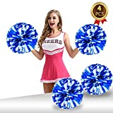 Pack of 4 Cheerleading Pom Poms Foil Plastic Metallic Cheerleader Pom Poms for Cheer Sport Kids Adults Team Spirit Cheering (Blue White)