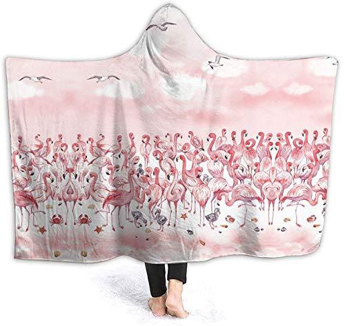 Manta con capucha de flamenco y rosa para mantas unisex suaves para usar con capa de tiro, manta de sherpa de micro polar, manta, manta para mascotas, manta para siesta, novedad, 50 x 40 pulgadas