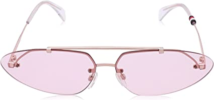 نظارة شمس بعدسات بيضاوية مستقطبة وشنبر مزدوج بدون اطار للجنسين من تومي هيلفيجر - روز