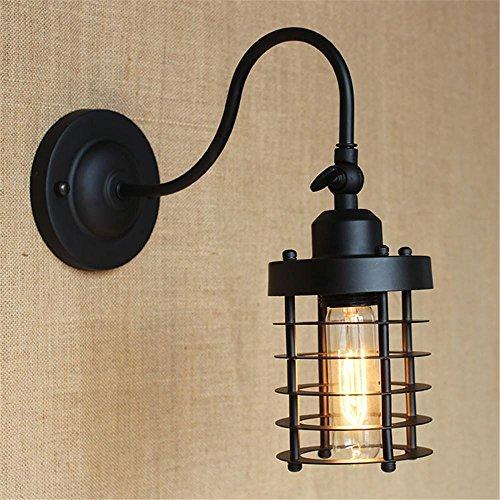NIHE E27 lampes de cage de personnalité créative moderne minimaliste chambre antique chambre style rétro industrie européenne de la lampe murale en fer forgé