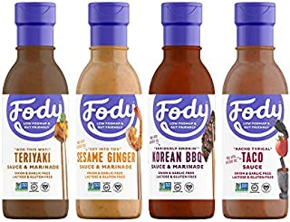 Fody Foods Vegan Variety Sauce Marinade Pack   Low FODMAP Certified   Gut Friendly No Onion No Garlic No MSG   IBS Friendly   Gluten Free Lactose Free Non GMO   4 Bottles, 8 Ounce