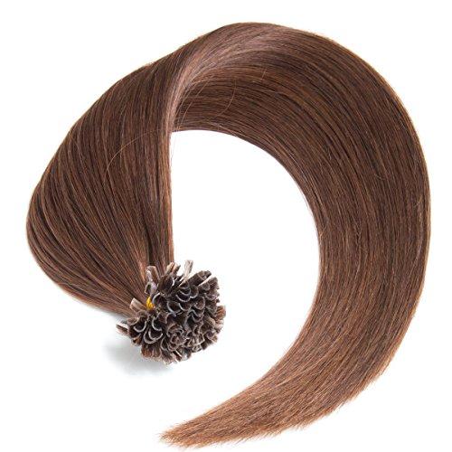 Schokobraune Bonding Extensions aus 100% Remy Echthaar - 25 x 0,5g 45cm Glatte Strähnen - Lange Haare mit Keratin Bondings U-Tip als Haarverlängerung und Haarverdichtung in der Farbe 4# Schokobraun
