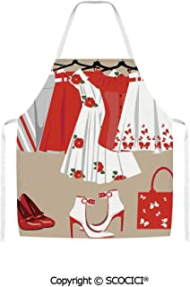 SCOCICI Summer Young Womens Clothing on Hangers Handbag Shoes Feminine Wardrobe Unisex Kitchen Chef Apron for Cooking Baking Crafting Gardening and BBQ