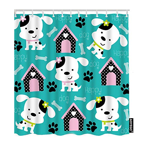 AOYEGO Dog with Paw Print and Bone Shower Curtain with Hooks Cartoon Puppy Flower Heart Kennel Footprint Fabric Shower Curtain Decorative 60x72 Inch Polyester for Bathrooms Bathtubs Farmhouse