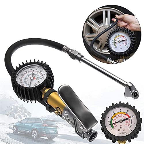 LIJIANZI Worth having - Inflador de neumático digital con manómetro, neumáticos Inflador de aire Dial Línea de aire Bomba de neumático Presión Dual Air Chuck Tester para ciclos de camión de automóvile