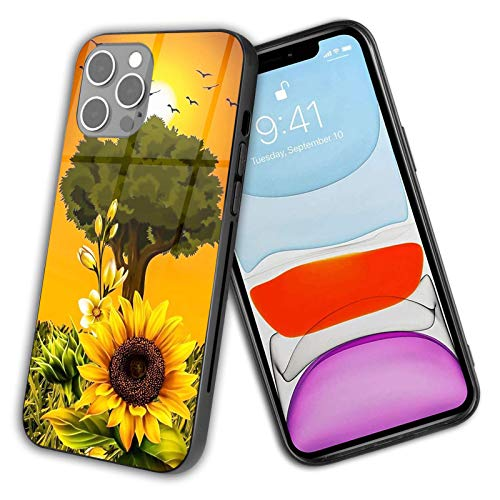 Compatible con iPhone 12 Pro Max hermosa flor de girasol dorada, protección a prueba de golpes