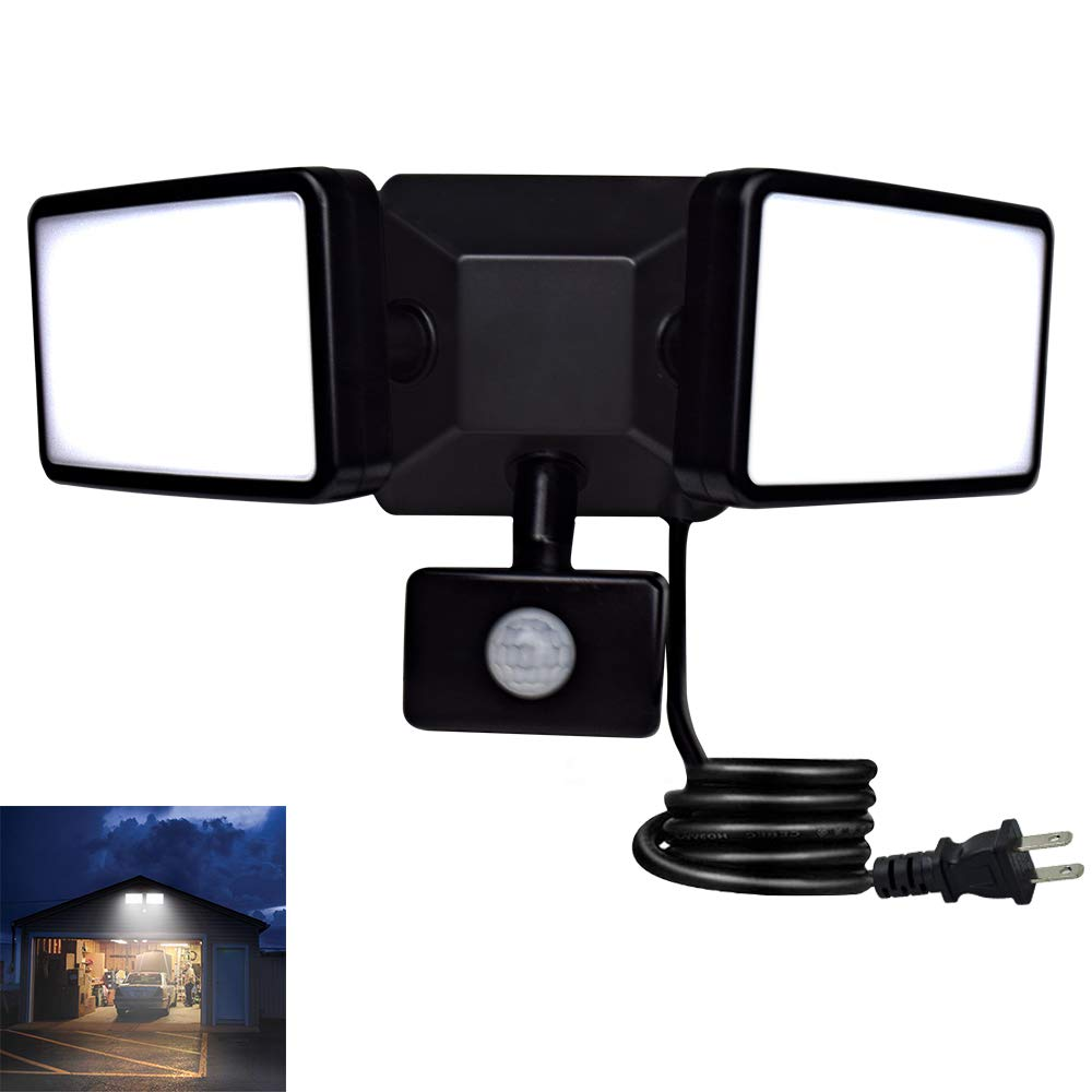 Stairs DLLT 35W Motion Sensor Led Flood Light Outdoor Garage Patio IP65 Wall Fixture lamp for Outside Porch Plug-in LED Security Lights with 3 Adjustable Heads Black Yard Entryways