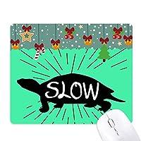黒いカメの自然動物のシルエット ゲーム用スライドゴムのマウスパッドクリスマス