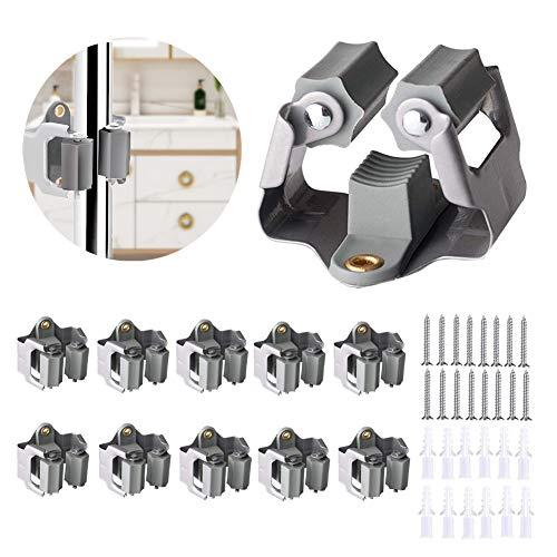 3-H Gerätehalter Garten Besenhalter Wand aus Federstahl können & abriebfester Kautschuk für Türen ,Wände, Mauern,– bis 4Kg, Klassischer Stil(10)