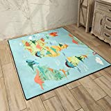 Kids Play Rugs Bedroom Playroom Dinosaur Mat Dino Safari Road Map Educational Learning & Game Carpet for Children(60 x 72 inches)