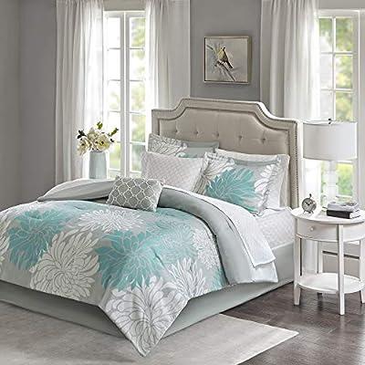 "Madison Park Essentials Maible Comforter Medallion Damask Design with Bonus Cotton Sheet Season Bed Set with Matching Sham, Decorative Pillow, Queen(90""x90""), Floral Aqua 9 Piece"