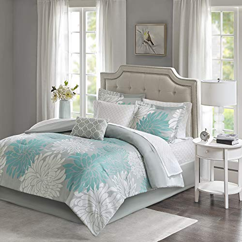 Madison Park Essentials Maible Cozy Bed in A Bag Comforter with Complete Cotton Sheet Set-Floral Medallion Damask Design All Season Cover, Decorative Pillow, Queen(90'x90'), Aqua/Gray