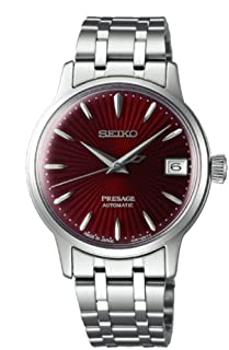 SEIKO PRESAGE Automatic Ladies Cocktail Kir Royal Red Dial Steel Watch SRP853J1