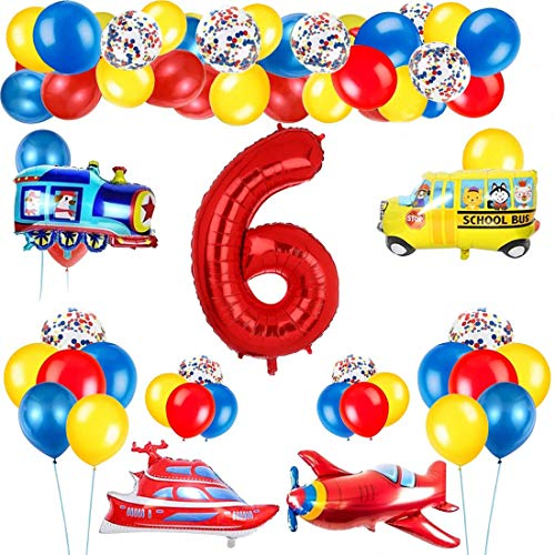 Decoración de globos de cumpleaños de tráfico para niños, globo de número rojo gigante [6], tema de tráfico, decoración de globos de feliz cumpleaños, avión, tren, autobús, yate