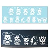 Mickey & Minnie Cutie Family [14 Characters] Vehicle Car Truck Decal Stickers [WHITE ONLY]