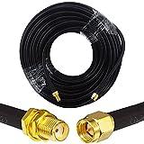 YILIANDUO RG58 - Cable alargador de antena SMA, cable de 20 metros, adaptador SMA macho a SMA hembra, bulkhead, alargador de baja pérdida para antena WiFi 2G/3G/4G LTE SMA Router inalámbrico WLAN