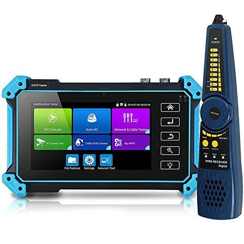 TOPQSC Probador de CCTV, IPC-5200 Plus de 5 pulgadas IPS pantalla táctil IP CVBS cámara analógica, 4K H.265 monitor de vídeo con entrada HDMI/POE/WiFi/Cable Tracker Firmware Actualización