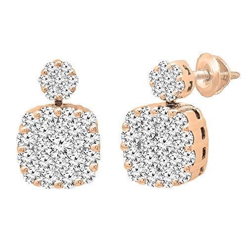 Dazzlingrock Collection Pendientes de tuerca de oro rosa de 14 quilates con diamantes blancos redondos de 1,12 quilates