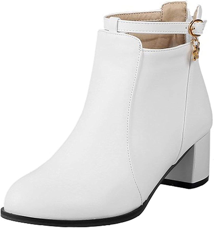 Ghssheh Women's Dressy Buckle Strap Block Medium Heel Ankle Booties Round Toe Back Zipper Short Boots Black 4 M US
