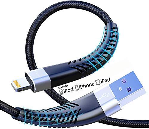 [ Apple MFi認証] lightning ケーブル 2m 耐久 ナイロン編み 断線防止 アイフォン充電ケーブル USB Lightning ケーブル 急速充電&高速データ転送対応 iPhone 12/12 Pro /11/11 pro/11 pro Max/XS/XS Max/XR/X/8/8Plus/7/7 Plus/6s/6s Plus/5s/5/iPad/iPod アップル社デバイス対応(2m2本)