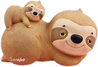 MASSJOY Cartoon Cute Resin Animal Sloth Piggy Bank Coin Bank