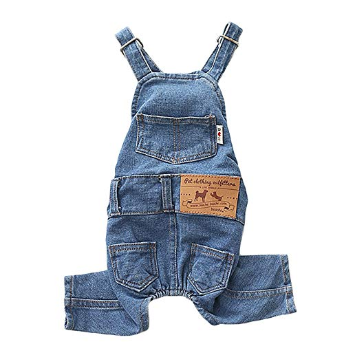 "Dog Denim Jumpsuit Costumes Cat Pet Jean Overalls Clothes for Yorkie Bulldog (L(Bust 14.1"" Back 12.9""), Blue)"