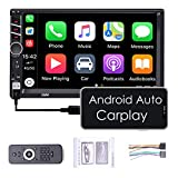 ZHNN Car Stereo Radio 7 inch Double din with Apple Carplay/Android Auto/Touchscreen MP5 Player/Autoradio Audio Receiver with Bluetooth,FM,Support Backup Camera,USB/AUX-in/RCA/Remote