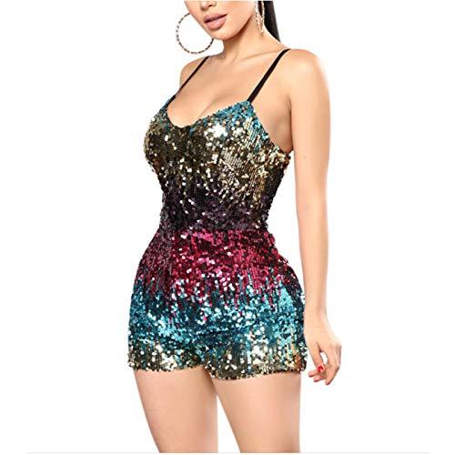 rarity-us Fashion Frauen Sexy Rückenfrei Tief Glitzer weitem Halsausschnitt, ärmellos kurz Jumpsuit Pailletten Party Club Strampelanzug - mehrfarbig - Mittel