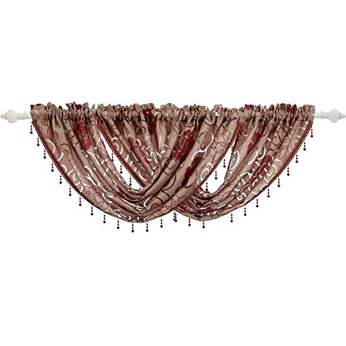 NAPEARL Beaded Kitchen Window Valance Curtains-Waterfall Swag Curtains with Floral Pattern, Premium Jacquard Sheer Valance for Bathroom Small Window, 1 Piece ( 57 x 37 Inch, Red )