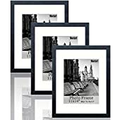 meetart Black Picture Frames 11x14 Pack of 3 Piece inPlastic GlassMDF Wood Frame, Display Pictures 11x14 8x10, Wall Hanger Vertical and Horizontal.