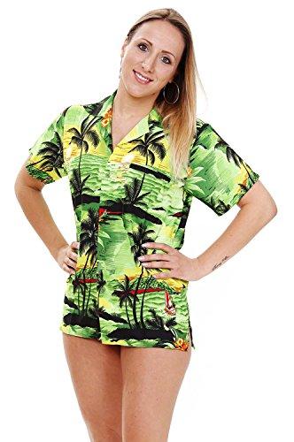 V.H.O. Funky Hawaiibluse, Hawaiihemd, Kurzarm, Surf, Grün, L