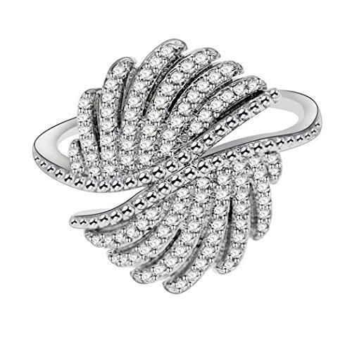 Uloveido Frauen Platin Überzogene Runde CZ Flügel Cocktail Ring Hochzeit Verlobungsringe Geburtstagsgeschenke für Freundin Größe 54 (17,2)