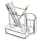 Sooyee Clear Acrylic 3 Compartment Pen and Pencil Holders Cups Business Card Holder Box Office Supplies Desktop Organizer Storage Caddy 5.4x3.8x4.4inch Pack of 1