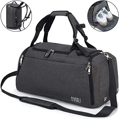 CySILI® Reisetasche Sporttasche mit Rucksack-Handgepäck mit Schuhfach - Nassfach & Zahlenschloss - Männer & Frauen Fitnesstasche - Tasche für Sport, Fitness,42L Gym - Travel Bag & Duffel Bag (Grau)
