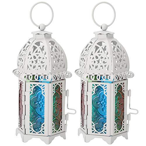 HERCHR 2 pièces Lanterne de Bougie Marocaine, bougeoir décoratif Vintage avec Panneau de Verre coloré pour la décoration de fête de Mariage de Patio extérieur à la Maison