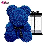 U UQUI Rose Bear Teddy Forever Artificial Flowers The Best Gifts for Valentine's Day, Anniversaries, Birthdays, Weddings and Mommy, Royal Blue | Small (10
