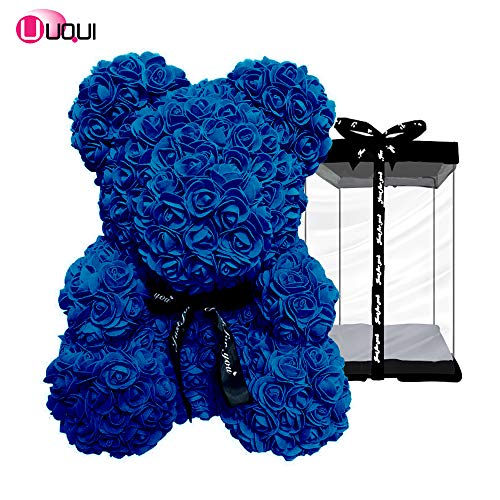 U UQUI Rose Bear Teddy Forever Artificial Flowers The Best Gifts for Valentine's Day, Anniversaries, Birthdays, Weddings and Mommy, Royal Blue | Small (10')