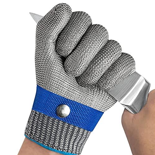 OKAWADACH Schnittfeste Handschuhe küche, Level 5 Schutz Schnittschutzhandschuhe Kettenhandschuh Metzger Handschuhe Austernhandschuh für Mandolinenschneiden, Fleischschneiden und Holzschnitzen (XL*1)