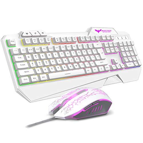Havit Keyboard Rainbow Backlit Wired Gaming Keyboard Mouse Combo, LED 104 Keys USB Ergonomic Wrist Rest Keyboard, 3200DPI 6 Button Mouse for Windows PC Gamer Desktop, Computer (White)