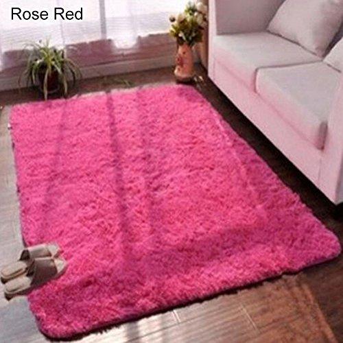 guohanfsh Carpete, almofada retangular de mesa de café de cor doce tapete de cabeceira quarto camurça rosa vermelho 80120 cm