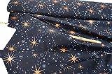 Weihnachtsstoff • Stern • dunkelblau kupfer metallic
