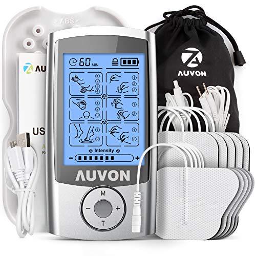 """AUVON TENS Gerät, Wiederaufladbare Reizstromgerät gegen Schmerzen mit 16 Trainigsprogramme, 2 Kanäle und 10 Stück 2\""""x 2\"""" Premium Elektroden Pads mit patentiertem Design"""