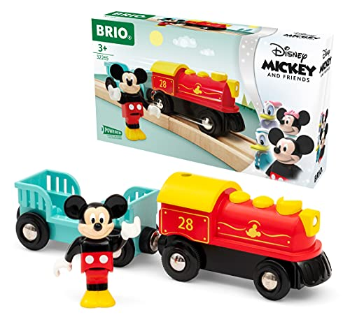 Brio 32265 Disney Mickey and Friends: Mickey Mouse Battery Train | Wooden Toy Train Set for Kids Age 3 and Up - Amazon Exclusive (63226500)