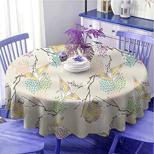 Laterne Innen Runde Tischdecke Bunte Origami-Kraniche Papierlaternen mit Zweigen und Blumen Kultur Urlaubsdekoration Durchmesser 119,4 cm lila rosa beige gelb