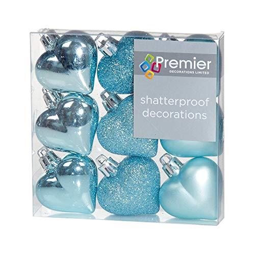 Premier Weihnachtsdekoration 9er Pack 40mm Multi Finish Herz Baubles - Eisblau