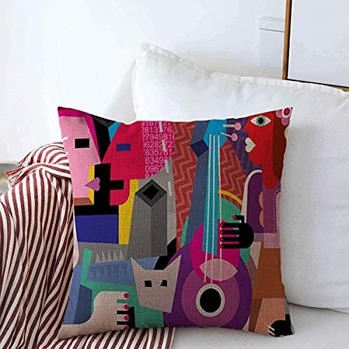 BONRI Funda de almohada para bailar abstracta pareja guitarra, cubismo fino, música gay, Picasso, estilo retro, moderno, decoración de granja, fundas para decoraciones de invierno, 43 x 43 cm